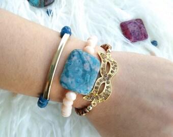 Set of 3, stackable bracelets, beaded bracelet, crystal beads, gold bar bracelet, layered bracelets, stacks, multiple, stone charm, gift