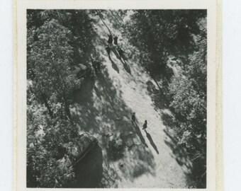 Overhead View of Figures on Pathway: Vintage Snapshot Mini-Photo, c1940s (71536)