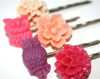 Flower hair pins, wedding, bridal accessories, bridesmaids
