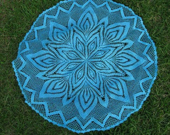 Sale 50%- 40.00USD- 20.00USD Crocheted Round  Blue Cotton  Doily ,  Free Shipping