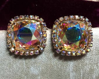 Vintage Signed Vendome ab Aurora Borealis Rainbow Rhinestone Clip on Large Earrings