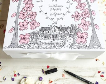 Wedding Keepsake Box, Hand Illustrated