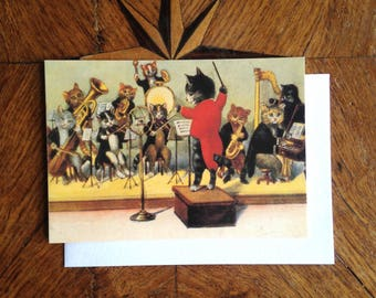 The All Cats Jazz Band. Cool Vintage Greeting Card Repro.