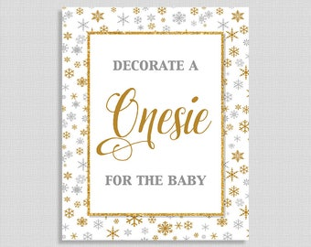 Decorate a Onesie for the Baby Sign, Silver and Gold Snowflake Shower Sign, Neutral Shower Sign, Winter,  INSTANT PRINTABLE