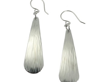 Chased Aluminum Long Tear Drop Earrings - Silver Tone Drop Earrings - Handmade Jewelry for Women - Stylish 10th Anniversary Gifts for Her