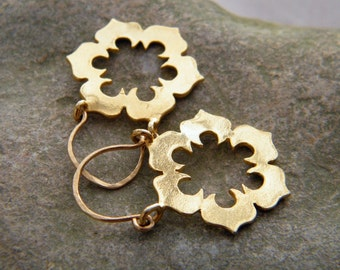 Gold flower earrings, flower hoop earrings, flower earrings, ornate earrings