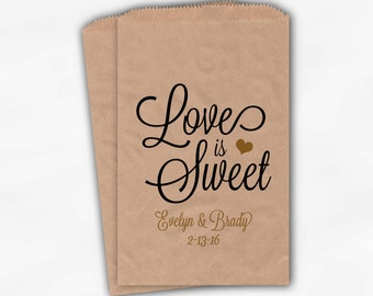 Love Is Sweet Script Wedding Candy Buffet Treat Bags - Personalized Favor Bags in Black and Gold - Custom Kraft Paper Bags (0168)