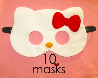 10 cat masks party pack white felt red bow- handmade kids kitty party favors photo booth props pretend play accessory Birthday gift for girl