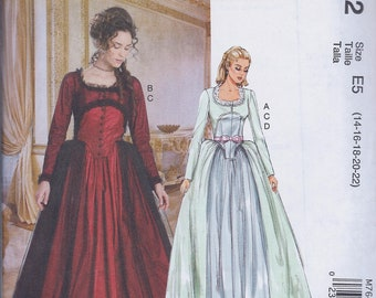McCall's 7642 Misses 18th Century Poldark Costume Gown Dress Underskirt UNCUT Sewing Pattern