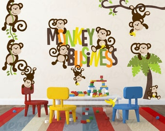 Wall Decals for Kids Bedroom - Monkey Wall Decal - Jungle Wall Decal - Monkey Nursery Decor