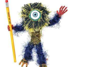 Elite Spiked Cyclops - Bendable Copper Wire Creature - fun, unique, fully poseable! Hand-made out of recycled & repurposed materials.