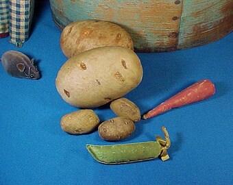 Antique Silk Potato Sewing Pin Cushions, Pair, Silk Vegetables, Antique Pincushion