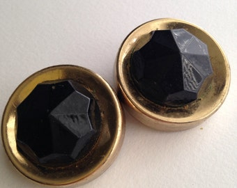 Vintage Black and Gold Clipon Earrings