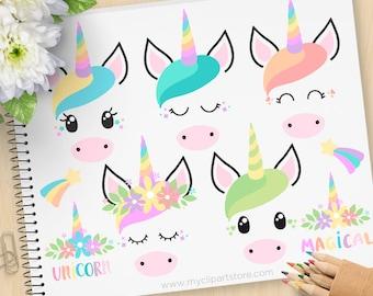 Einhorn Gesichter Clipart, Einhörner, Emoji, Prinzessin Horse pony wenig, Scrapbook-Aufkleber, kommerzielle Nutzung, Vektor ClipArt, SVG-Dateien schneiden