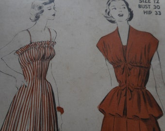 Vintage 1940's, 50's Advance 5114 Dress and Stole Jacket Sewing Pattern Size 12 Bust 30