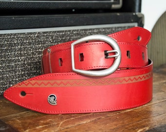 Shoulder strap for guitar and bass in real red vegetable tanned leather engraved-art. INDIAN-Made in Italy