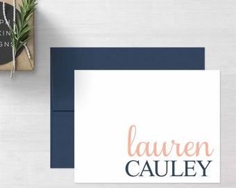 Personalized Thank You Notecards • Big & Bold {FOLDED} • 10 Note Cards with Envelopes • Personalized Stationery • Personalized Stationary