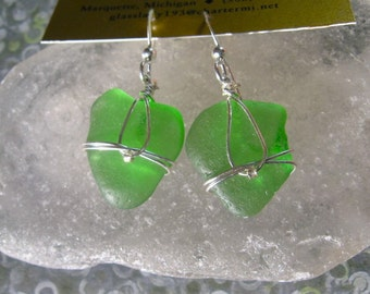 Vibrant Green Lake Superior Beach Glass Earrings