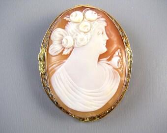 Antique Edwardian 14k rose gold filigree cameo brooch pin pendant necklace