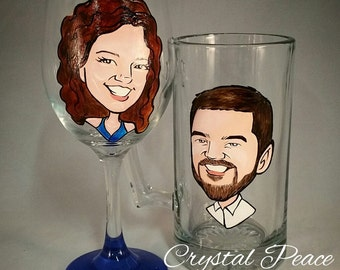 Engagement Gift - Bride and Groom Toasting Glasses - Hand Painted  Wine Glasses
