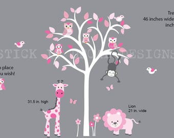 Girl Room Wall Decal, Wall Decal, Safari Animal Wall Decal, Nursery Wall Decal, Giraffe, Lion, Pink Hues Design / White Tree