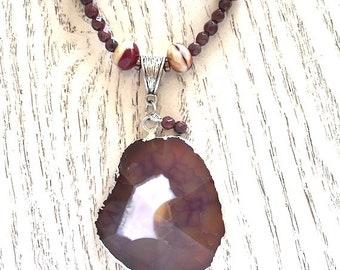 Large Gemstone Pendant Necklace, Maroon Necklace, Statement Necklace, Jade Beaded Necklace