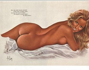 MATURE - Vintage 1974 Alain Aslan Pinup Girl Oui Magazine Naked Back Bum Bottom Nudity 70s Sir Philip Sidney Quote Blonde Wall Art Decor