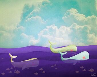 Whales illustration. Fine Art print