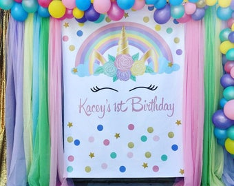 Unicorn Backdrop | Unicorn Birthday | Unicorn Digital Backdrop | Unicorn Decoration | Unicorn Party | Unicorn Head Backdrop