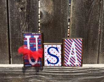 4th of July wood blocks-USA blocks, stars