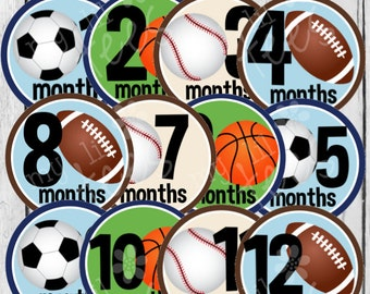 MONTHLY Stickers or Monthly IRON ON Decals - 12 Monthly iron on heat transfers - for Baby boy - Sports (Style#B20)