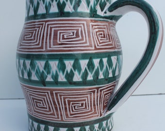 French Neiman - Marcus  Art Hand Painted Pitcher.
