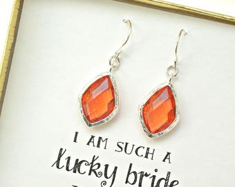 Set of 4 Orange wedding Earrings for Bridesmaids, Orange Earrings, Citrine Earrings, Fruity Passion Golden Earrings,  ES4
