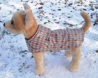 Dog Jacket - Orange and Brown Argyle Raincoat - Size XX Small 8- 10 Inch Back Length