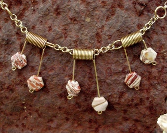 jasper chainmaille spiky necklace, gold patina