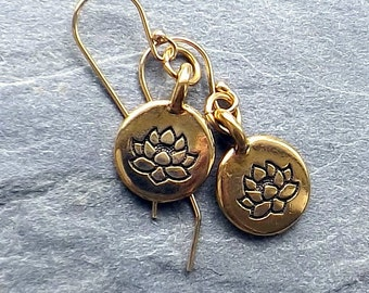 Tiny gold lotus earrings  / Gold plated lotus earrings / Yoga lotus earrings / Etched gold lotus earrings