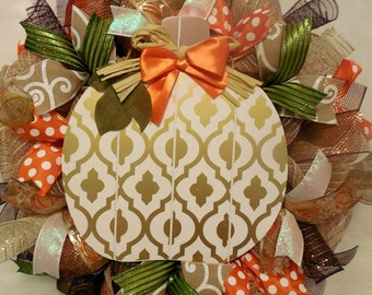 Pumpkin Wreath, Elegant Fall Wreath, Elegant pumpkin wreath, Fall Welcome Wreaths,  Fall Wreath, Fall Wreaths, gold and white wreath
