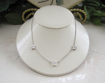 Sterling silver Three Flower Pendant Necklace