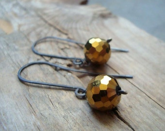 Gold Disco Ball Earrings Oxidized Sterling Silver Fall Fashion Holiday Jewelry Modern Gifts Under 50 Metalwork 1970s Metallics Geometric