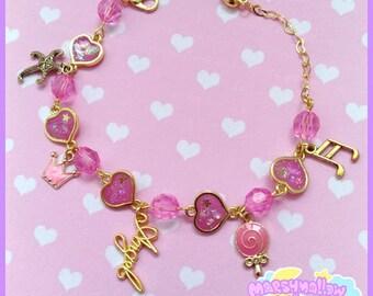Heart bracelet cute and kawaii lolita style pink