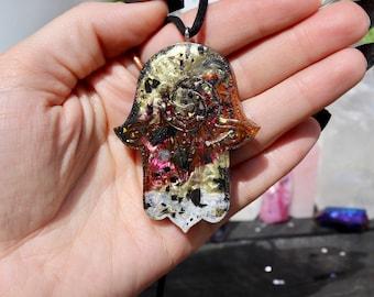Orgonite® - Orgonite® Pendant - Hamsa Hand - Necklace - Handmade - Orgone Generator® - Crystals - Gift - EMF Protection - HoodXHippie