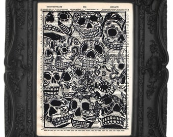 Calaveras Arte | Skull print | Skull decor | Skull Home Decor | Dictionary print Book Art | Antique Art | Day Of The Dead