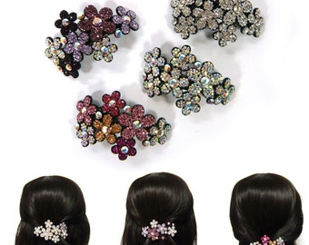 Crystal Rhinestone Flower Beaded Hair Jewelry Barrette Clip Pin Accessory Beautiful Romantic Sparkle Fashion Wedding Bridal Prom Party Gift