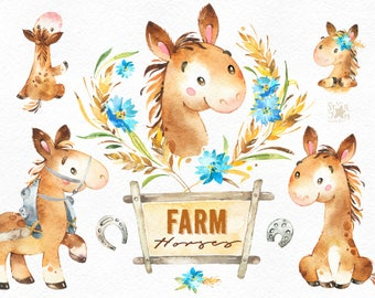 Farm. Horses. Watercolor country clipart, horse cart, hobbyhorse, floral wreath, foal, horseshoe, colt, household, harvest, thanksgiving