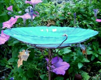 "Garden Gift, BIRDBATH, stained glass, copper, 8.25"" diameter, AQUA IRIDESCENT, Garden Art, Garden Decor, Outdoor"