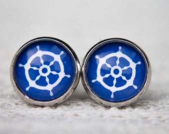 Ships Helm Earrings, Nautical Earrings, Nautical Studs, Blue and White Earrings, Stud Earrings, Post Earrings, Glass Dome Earrings