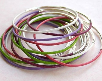 Mixed Color Leather Bangles Silver -15 bracelets