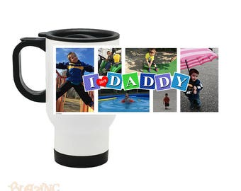Personalized Dad/ Daddy Photo Collage Travel Coffee Mug
