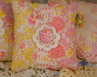 Pretty Pincushion Vintage Lace Embroidery Fancy Upcycled