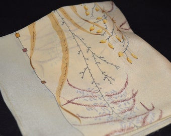 Ivory Silk Scarf / silk scarf / ivory scarf / floral / brown floral / made in Russia / square scarf / 32 inch square / vintage scarf / tan